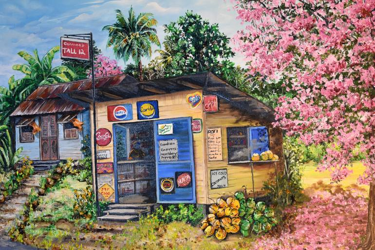 painting of caribbean parlor by Karin Best